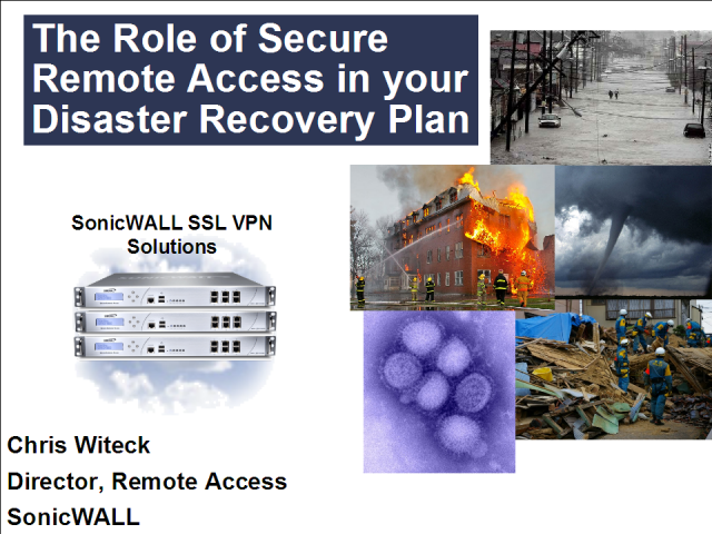 The Role of SSL VPNs in your Disaster Recovery Plan
