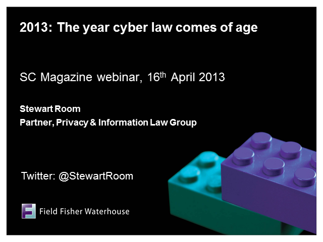 Twenty Thirteen - The Year Cyber Law Comes of Age.