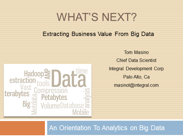 What's Next: Analytical Approaches to Big Data