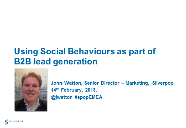 Using Social Behaviours as part of B2B lead generation