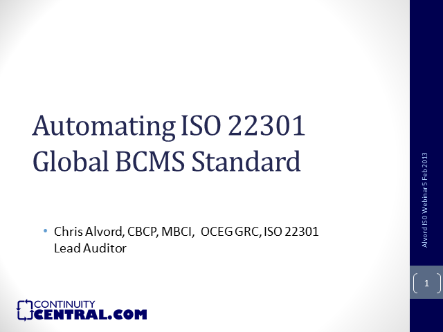Automating ISO 22301 Global BCMS Standard