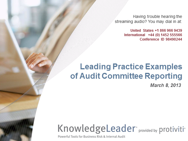 Leading Practice Examples of Audit Committee Reporting