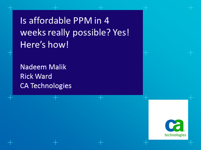 PPM in 4 Weeks – Yes, It Is Possible!