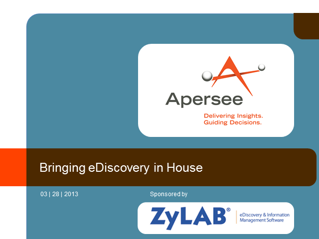 Bringing eDiscovery in House