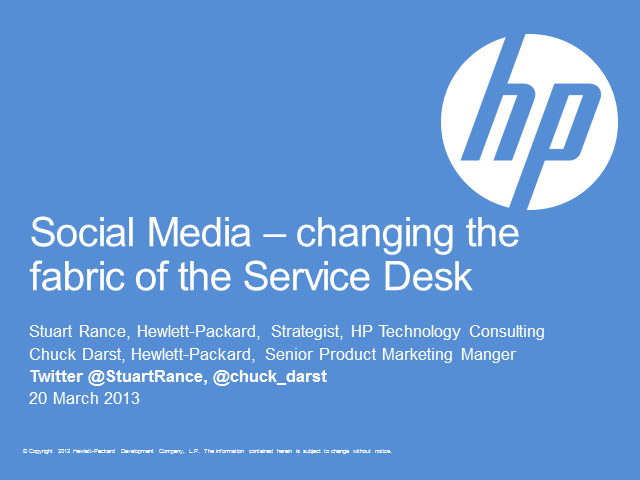 Social Media - Changing the Fabric of the Service Desk