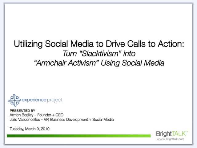 "Turn ""Slacktavism"" into True ""Armchair Activism"" w/ Social Media"
