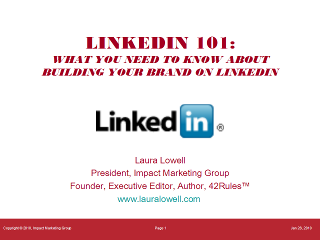 LinkedIn 101:  How to Build Your Brand on LinkedIn