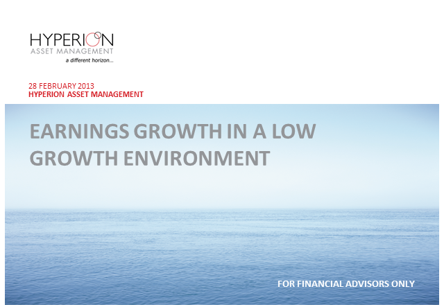 Why earnings growth matters in a low growth environment