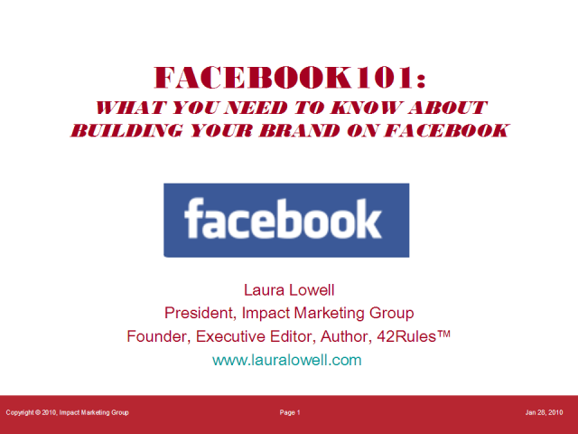 FaceBook 101:  How to Build Your Brand Using FaceBook