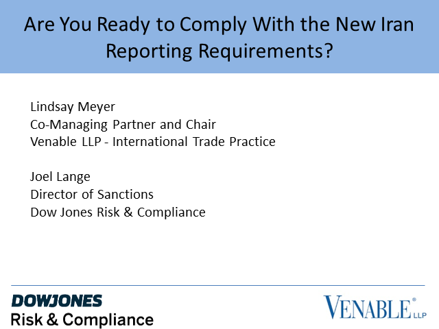 Are you compliant with the New Iran reporting requirements on Sanctions ?