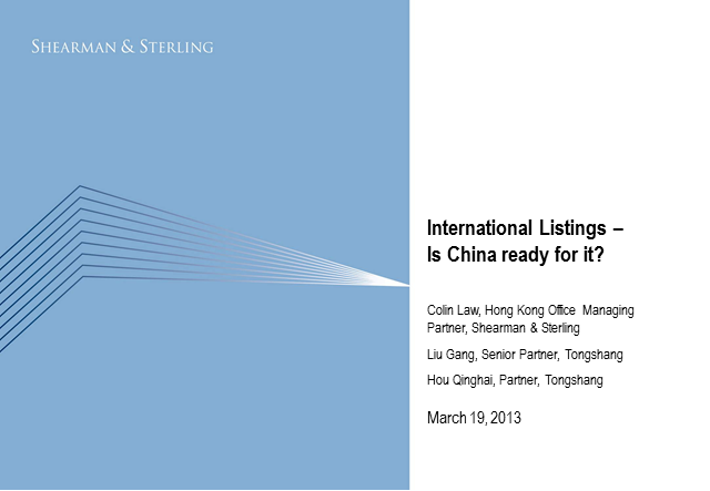 International Listing – Is China ready for it?