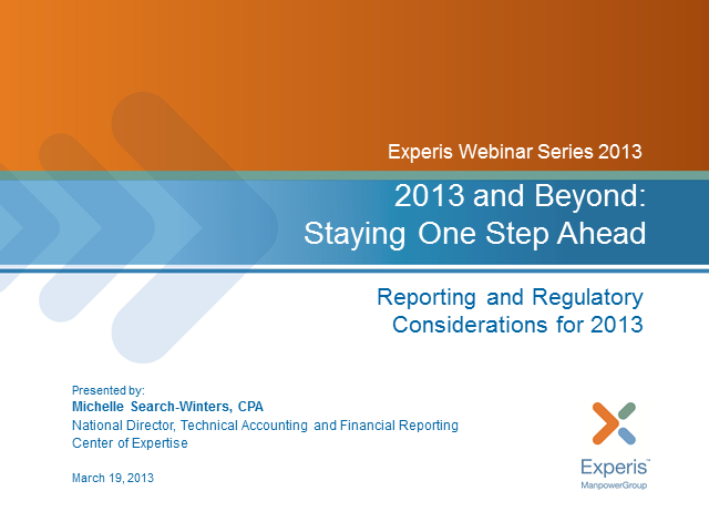 Your 2013 Roadmap for Technical Accounting and Financial Reporting