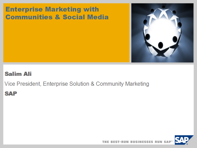 Enterprise Marketing with Communities and Social Media