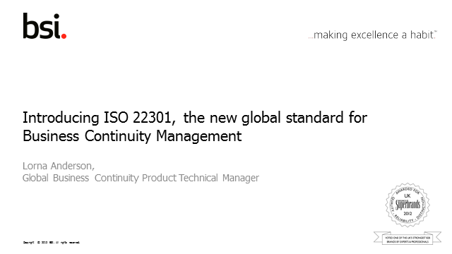 Introducing ISO 22301-2012, The New Global Standard