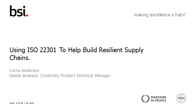 Using ISO 22301 to build resilient supply chains