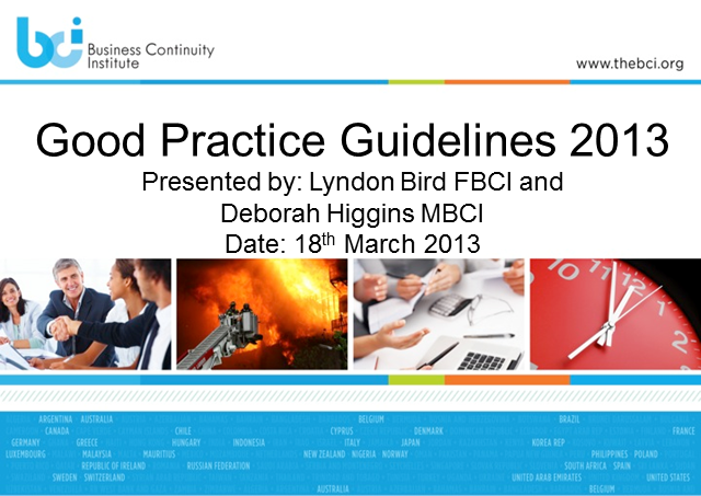 LAUNCH EVENT: BCI's Good Practice Guidelines 2013