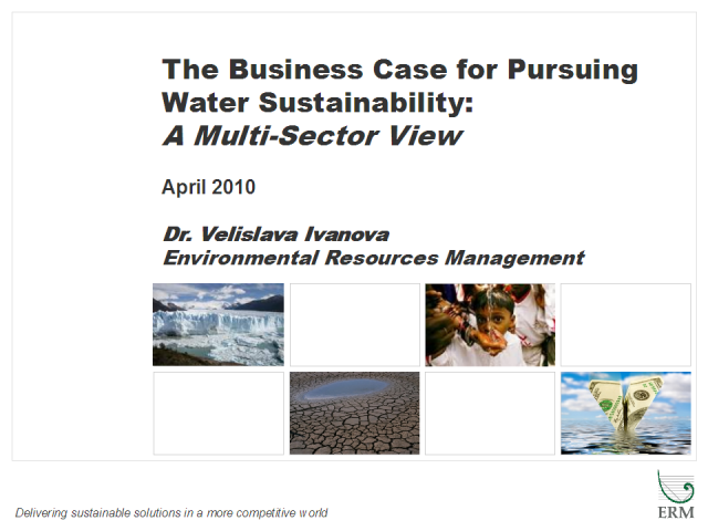 The Business Case for Pursuing Water Sustainability