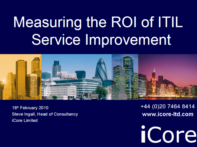 Measuring the ROI of ITIL Service Improvement