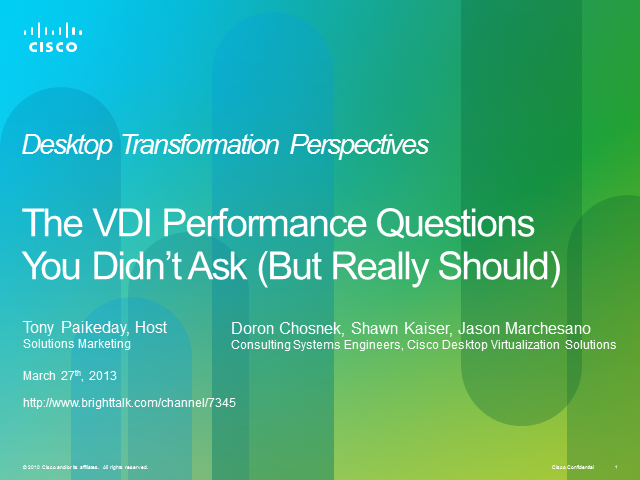 The Questions You Didn't Ask About VDI Performance (But Really Should)