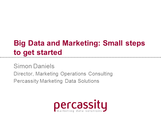 Big Data and Marketing: Small steps to get started