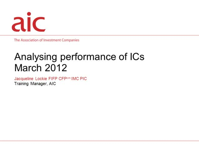 Analysing performance of investment companies