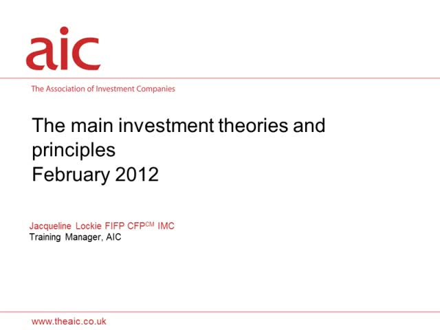 Investment theory and principles