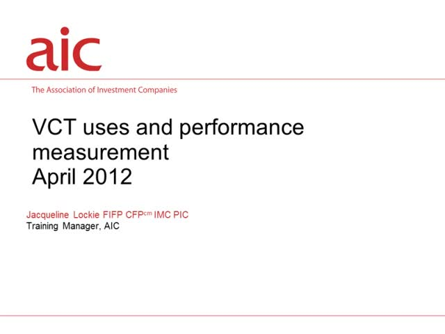 VCT uses and performance measurement