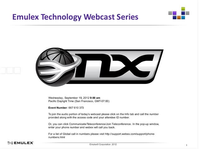 Emulex Webcast Integrating and Optimizing Suricata with FastStack™ Sniffer10G™