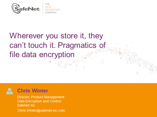 Wherever you store it, they can't touch it. Pragmatics of file data encryption