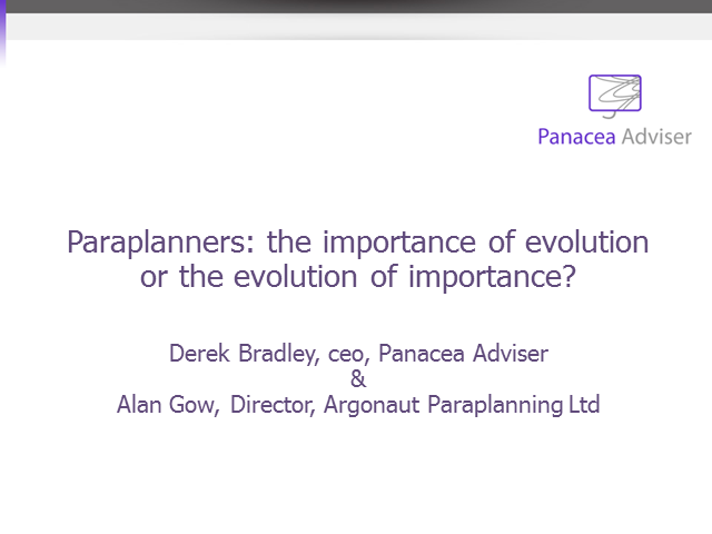Paraplanners: The Importance of Evolution or the Evolution of Importance?