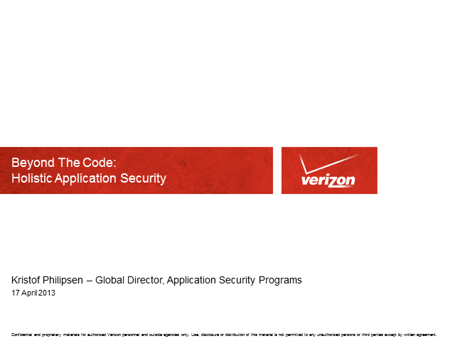 Beyond the Code – Holistic Application Security