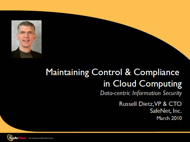 Control & Compliance in the Cloud w/ Data-Centric Security