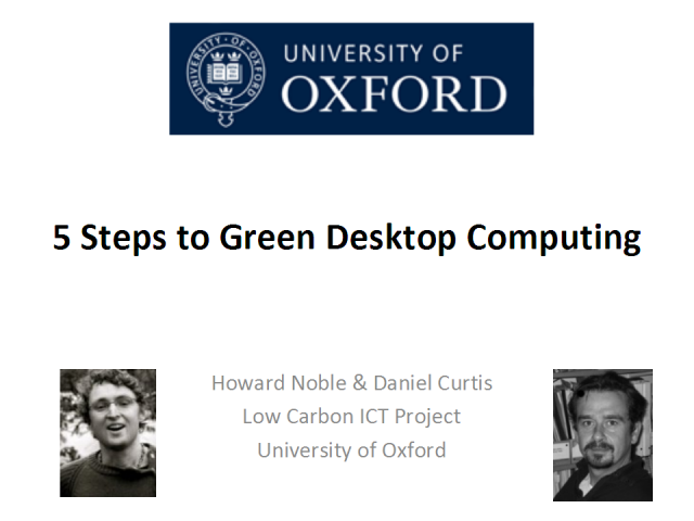 5 Steps to Green Desktop Computing