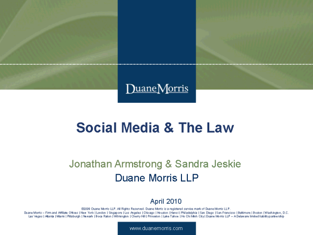 The Legal Issues with Social Media - Part 1