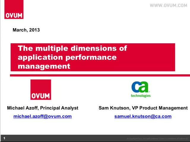 Stop Being So One-Dimensional -Understanding the Key Dimensions of APM