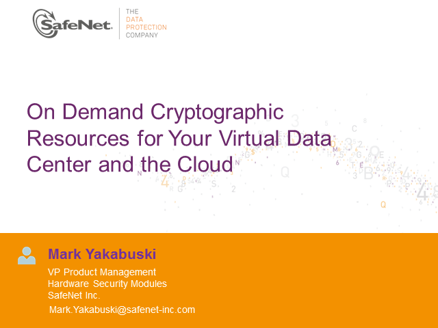 On demand cryptographic resources for your virtual data center and cloud