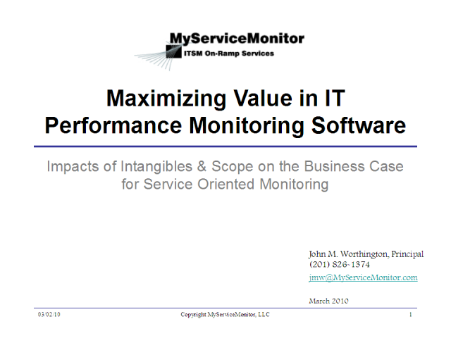 Maximizing Value in IT Performance Monitoring Software