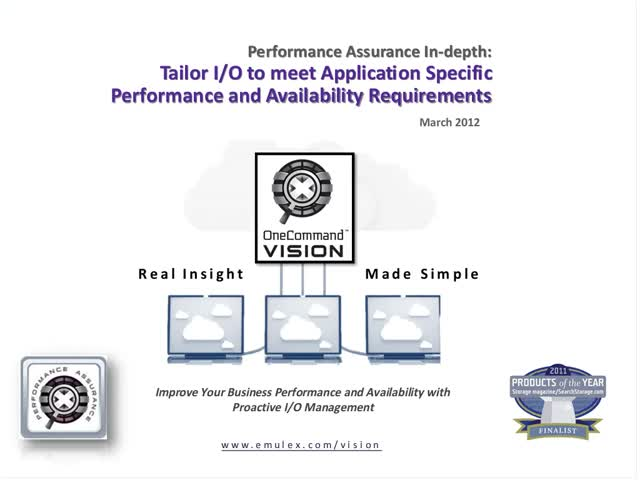 OneCommand® Vision and Industry-leading LUN SLAs Presentation