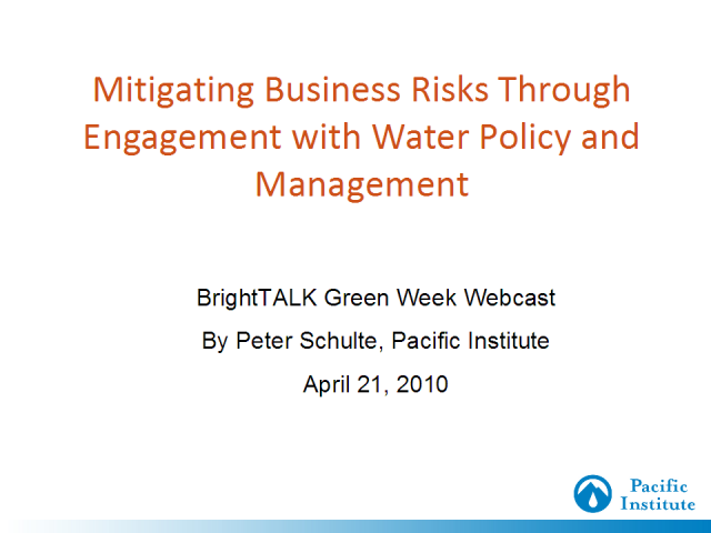 Mitigating Water Risks Through Policy Engagement