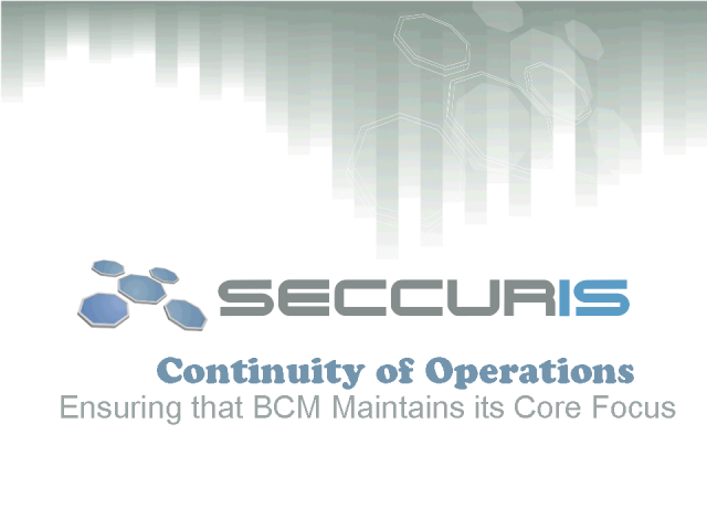 Continuity of Operations versus Business Continuity