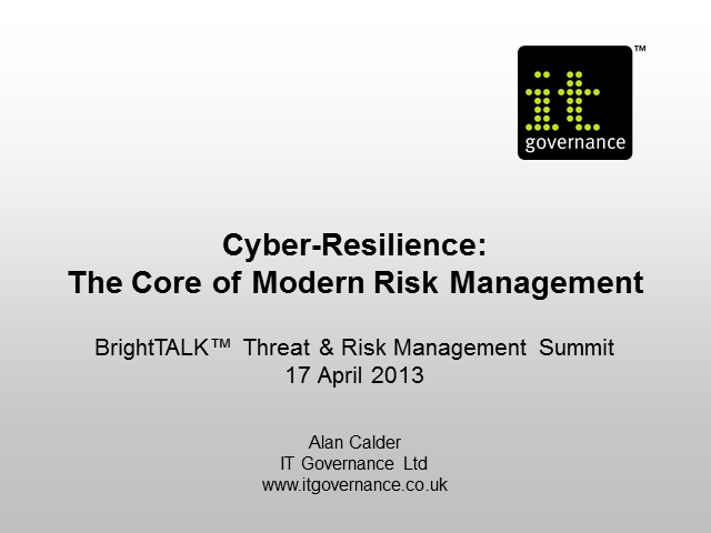 Cyber-Resilience: the Core of Modern Risk Management