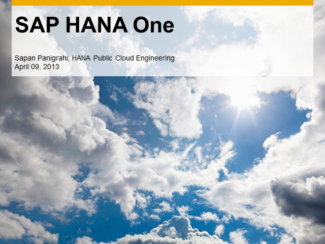 SAP HANA: Talk to the Technical Expert Behind SAP HANA One