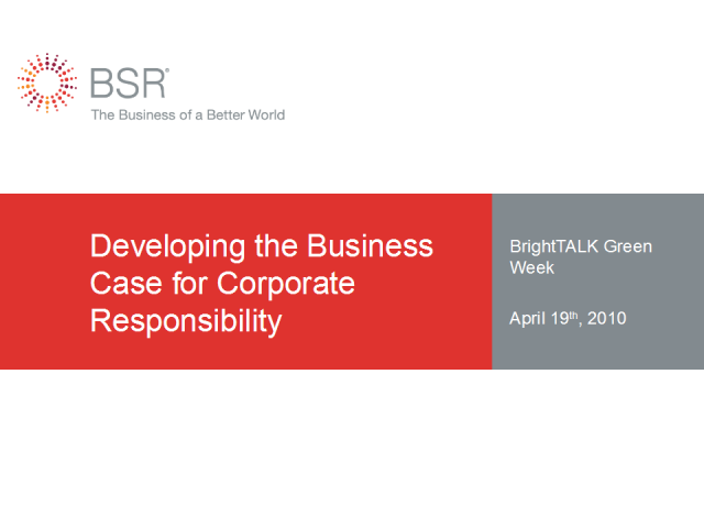 Developing the Business Case for Corporate Responsibility