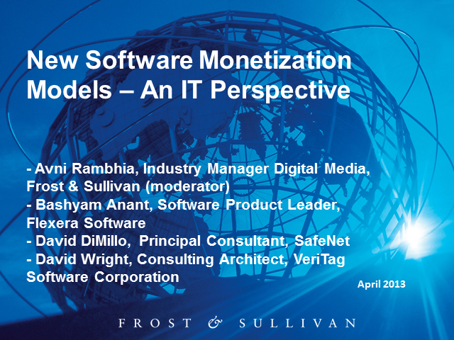 Panel: New Software Monetization Models - An IT Perspective