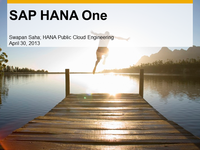 A Deep Dive into New Technology of HANA in the Cloud & a $120 AWS Credit