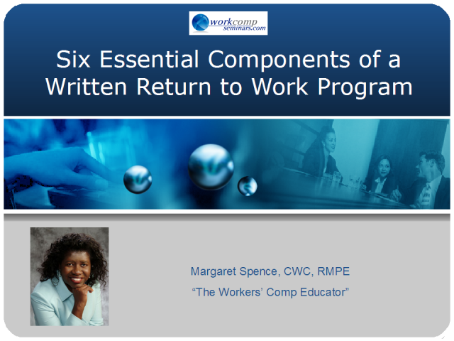 Six Essential Components of a Written Return to Work Policy