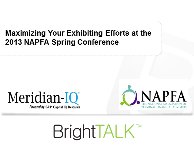 Maximizing Your Exhibiting Efforts at the 2013 NAPFA Spring Conference