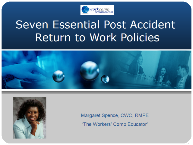 Seven Essential Post Accident Return to Work Policies