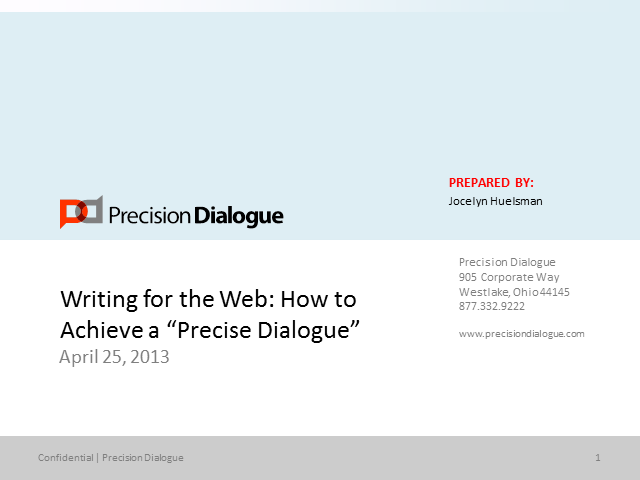 "Writing for the Web: How to Achieve a ""Precise Dialogue"""