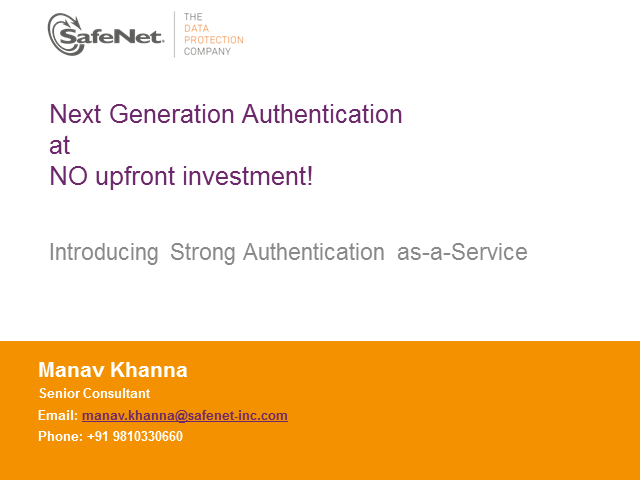NextGen Authentication at NO upfront investment!